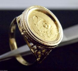 14k & 24k 1988 Panda Coin Ring