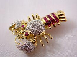 14k Diamond & Ruby Lobster Brooch