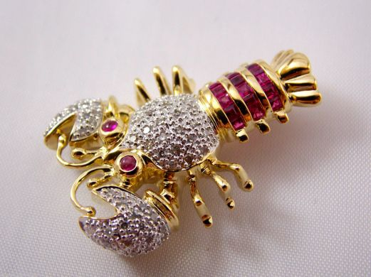 14k Diamond & Ruby Lobster Brooch