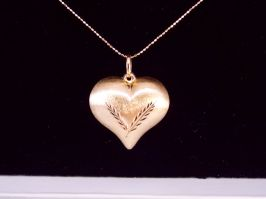 14k Puff Heart & Beaded Chain