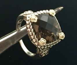 SS & 18k Smoky Quartz Ring